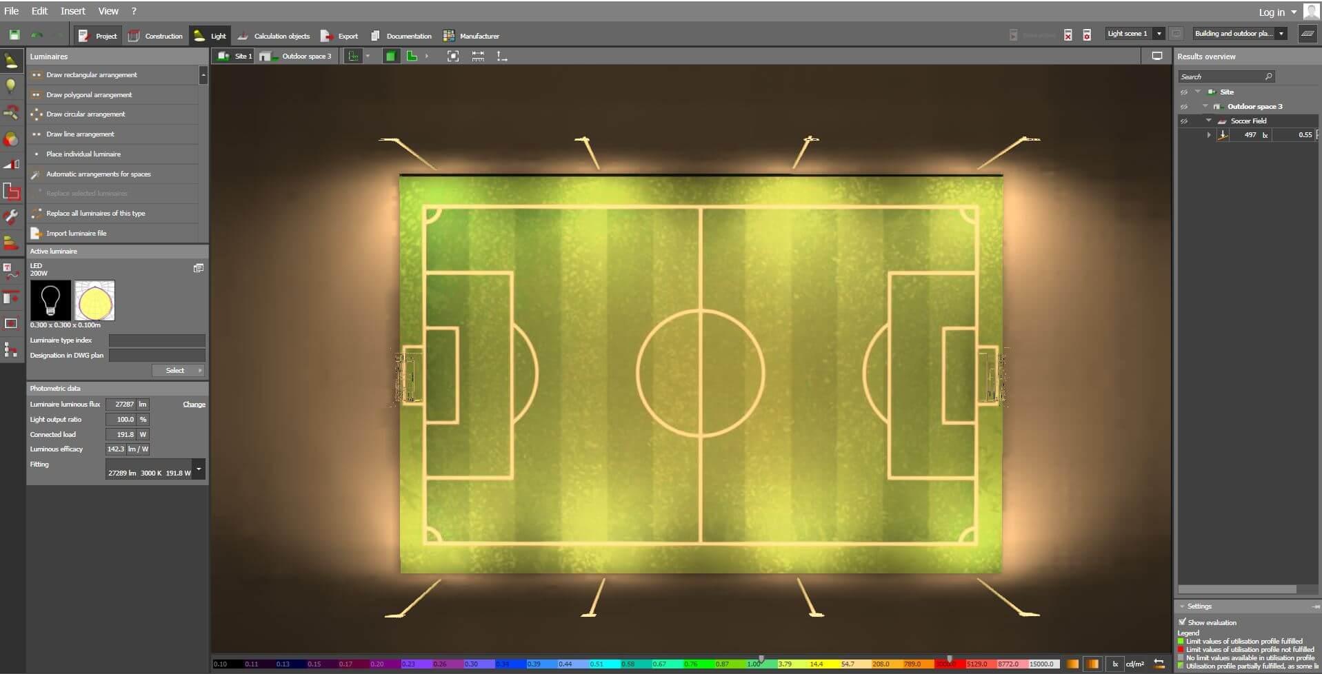 Dialux-Soccer-field-200W-Flood-Light-LED