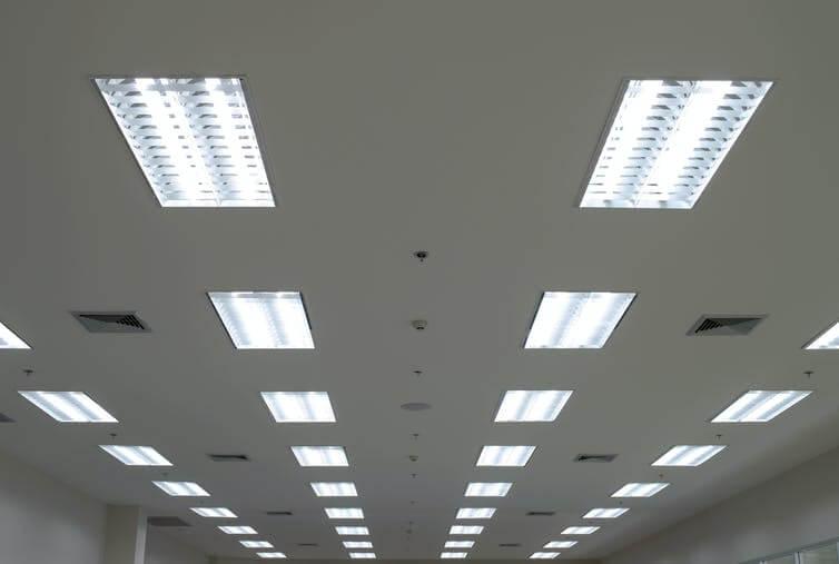Fluorescent light fixtures in a school