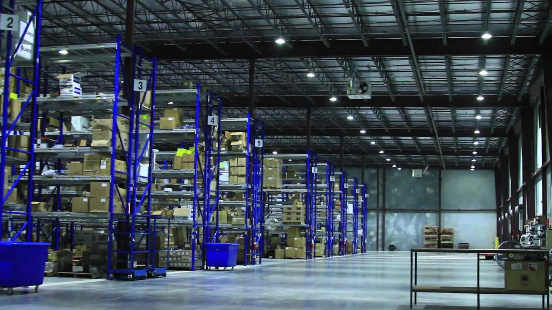 High Bay LED Light Fixtures in Warehouse