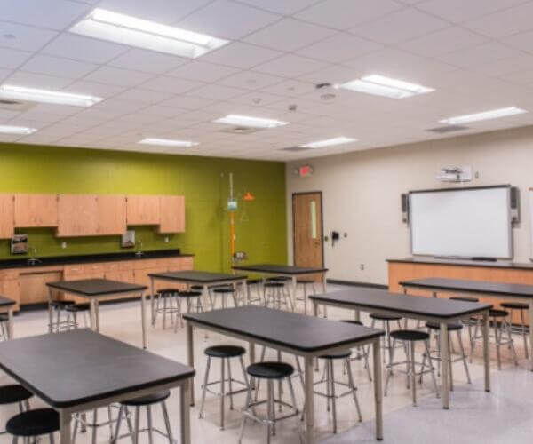 fluorescent light fittings for school and classroom lighting